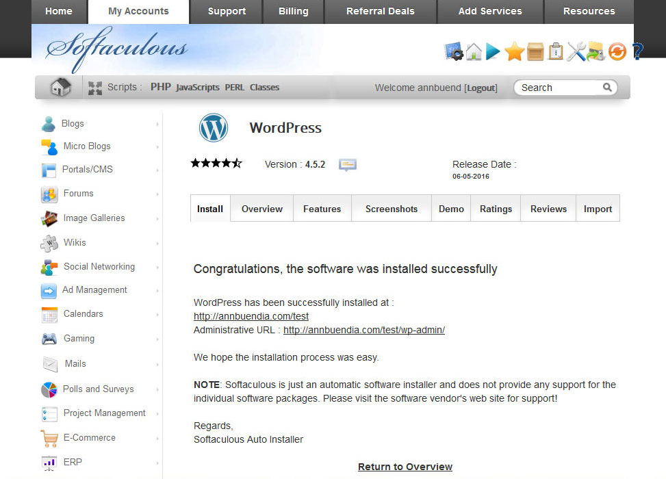 startawebsite-siteground-installingwordpress-success